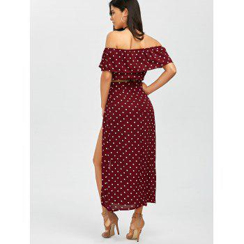 Polka Dot Split Skirt+Flounce Crop Top - DARK RED DARK RED