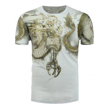 Short Sleeve Dragon Print T-Shirt