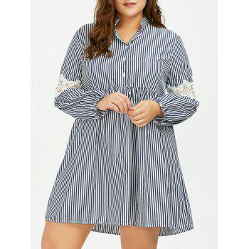Long Sleeve Plus Size Striped Smock Casual Shirt Dress - GRAY 3XL