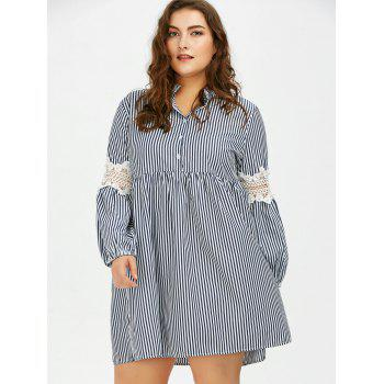 Long Sleeve Plus Size Striped Smock Casual Shirt Dress - 3XL 3XL