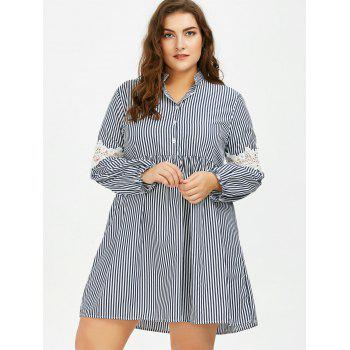 Long Sleeve Plus Size Striped Smock Casual Shirt Dress - 4XL 4XL