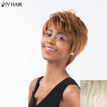Siv Hair Short Straight Layered Inclined Bang Pixie Human Hair Wig