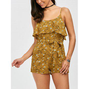 Flounce Belted Tiny Floral Print Romper