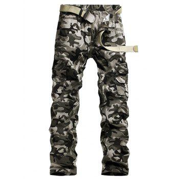 Pockets Embellished Camouflage Printed Cargo Pants