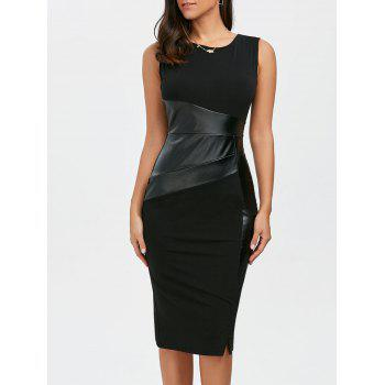 Faux Leather Panel Midi Fitted Tight Dress