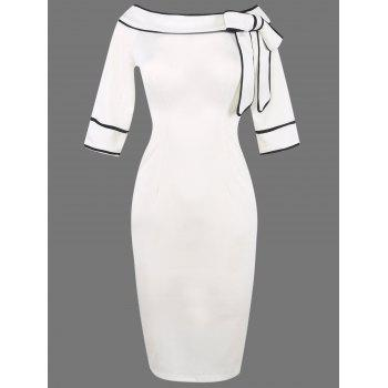 Boat Neck Bowknot Embellished Pencli Dress