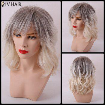 Siv Hair Medium Gradient Inclined Bang Slightly Curly Capless Human Hair Wig