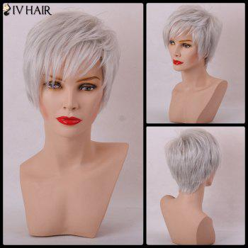 Siv Hair Short Layered Cut Straight Sided Bang Capless Human Hair Wig