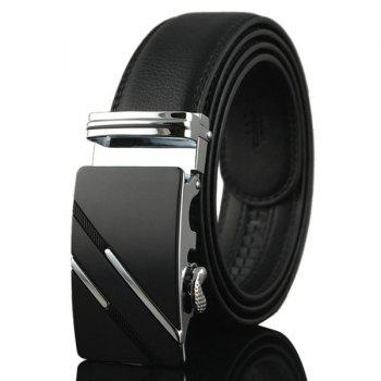 Artificial Leather Diagonal Stripe Metallic Buckle Belt