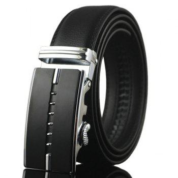 Metallic Rectangle Buckle Faux Leather Belt