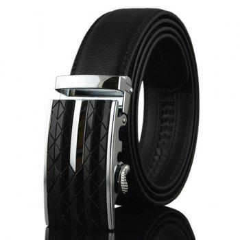 Faux Leather Argyle Engraved Metallic Buckle Belt - SILVER SILVER