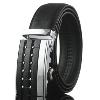Rectangle Carve Metallic Buckle Faux Leather Belt