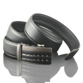 Rectangle Carve Metallic Buckle Faux Leather Belt - SMOKY GRAY