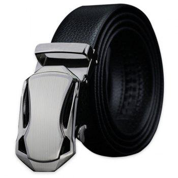 Polished Geometric Metal Buckle Fake Leather Belt