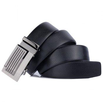 Artificial Leather Metallic Auto Buckle Belt - BLACK