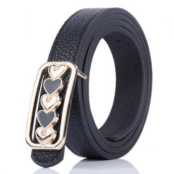Tiny Heart Plate Buckle Artificial Leather Belt