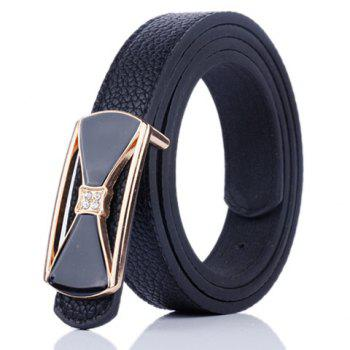 Metal Bowknot Plate Buckle Faux Leather Belt