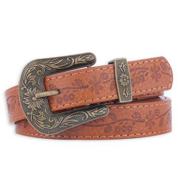 Faux Leather Floral Embossed Pin Buckle Belt