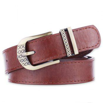 Faux Leather Metal Engraved Pin Buckle Bet
