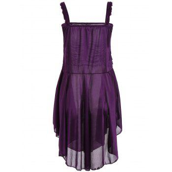 Ruched Handkerchief Cami Babydoll - DEEP PURPLE L