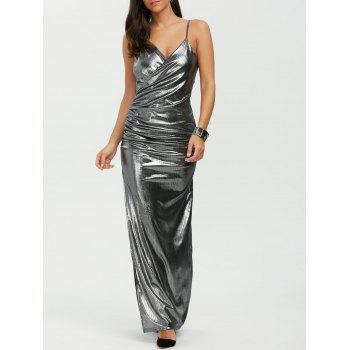 Slit Floor Length Slip Metallic Dress