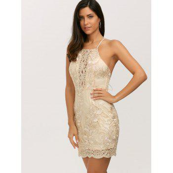 Halter Backless Lurex Bodycon Short Night Out Mini Short Dress - GOLDEN M