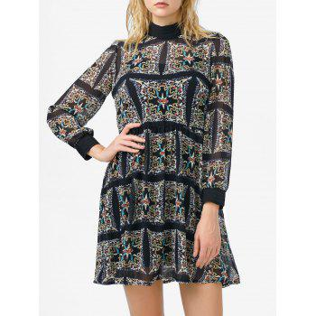 Mock Neck Printed High Waist Dress