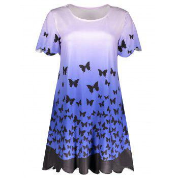 Ombre Scalloped Butterfly Print Dress