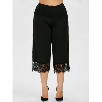 Lace Trim Plus Size Capri Pants