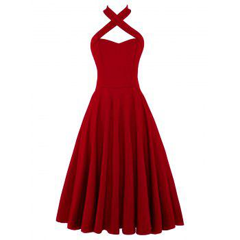 Halter Vintage Criss Cross Pin Up Dress