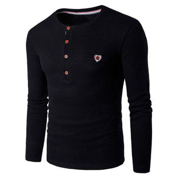 Fake Pocket Long Sleeve Henley T-Shirt