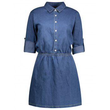 A Line Long Sleeve Denim Dress