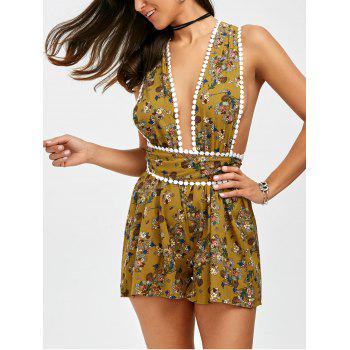 Self Tie Floral Print Backless Romper