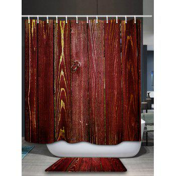 Wood Grain Bathroom Shower Curtain - RED 180*180CM