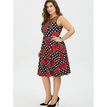 Plus Size Floral and Polka Dot Bridesmaid Dress - 3XL 3XL