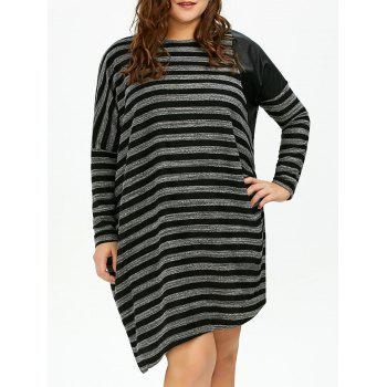 Plus Size Dolman Sleeve Stripe Casual Dress