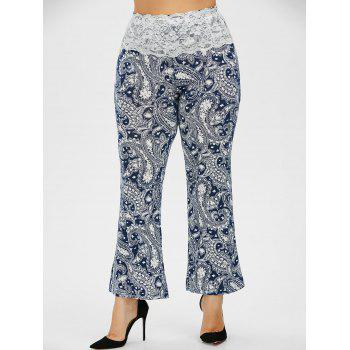 Lace Trim Print Plus Size Ankle Pants