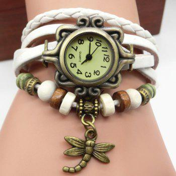 Dragonfly Number Vintage Bracelet Watch - WHITE WHITE