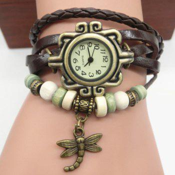 Dragonfly Number Vintage Bracelet Watch - BROWN BROWN