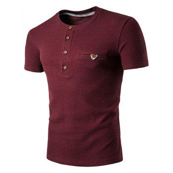 Buttons Fake Pocket Henley T-Shirt - WINE RED WINE RED