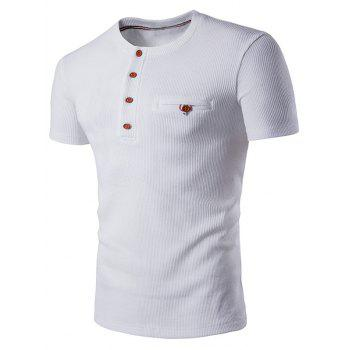 Buttons Fake Pocket Henley T-Shirt