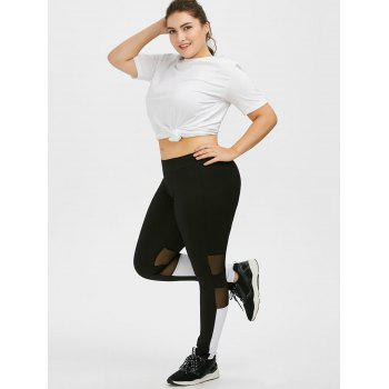Plus Size Colorblock Mesh Panel Sport Leggings - Noir 3XL