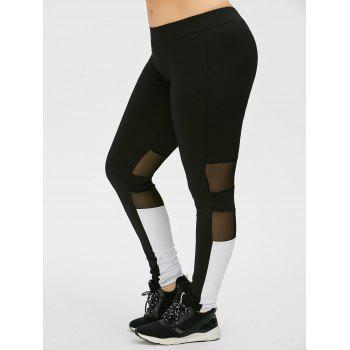 Plus Size Colorblock Mesh Panel Sports Leggings