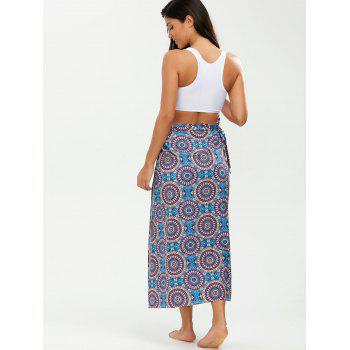 Tribal Loop Printed Lace Up Sarong - PURPLE ONE SIZE