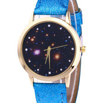 Faux Leather Starry Night Watch -  BLUE