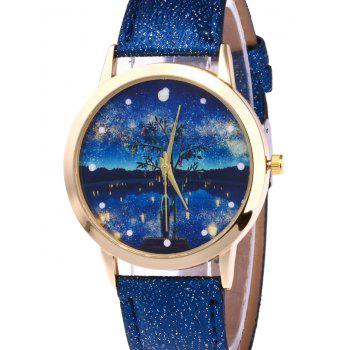 Tree Starry Night Glitter Strap Watch -  RED