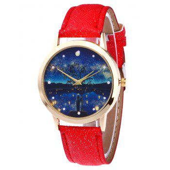 Tree Starry Night Glitter Strap Watch - RED RED