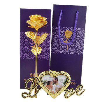 Artificial Rose Flower with Photo Frame Holder -  GOLDEN