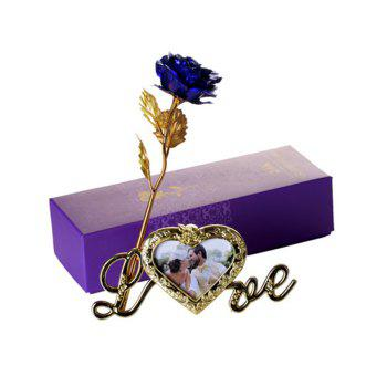 Artificial Rose Flower with Photo Frame Holder -  BLUE