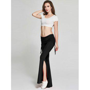 High Slit Flare Bell Bottom Yoga Pants - BLACK BLACK
